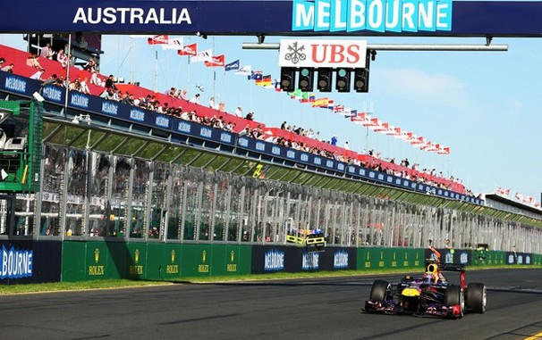 Piloto da casa, australiano Mark Webber treina para o GP em Melbourne, que a Globo exibe neste sábado (Foto: Getty Images)