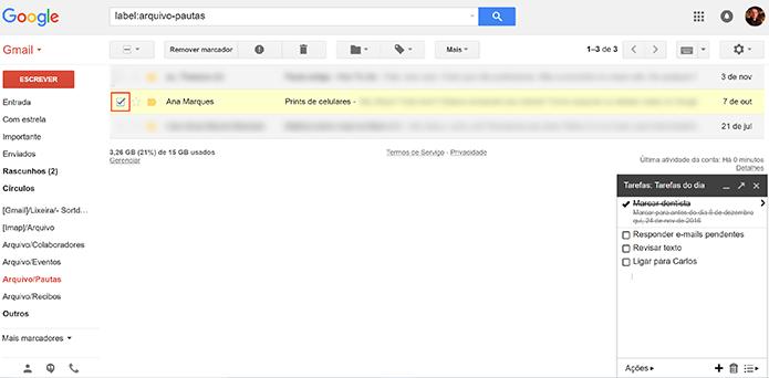 Selecione a mensagem que deseja adicionar à nova tarefa do Gmail (Foto: Reprodução/Elson de Souza)
