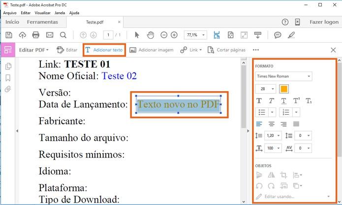 Adicione texto novo no documento em PDF (Foto: Reprodução/Barbara Mannara)