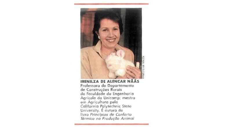 Em 1990, a professora da Unicamp e mestra em Agricultura pela California Polytechnic State University, Irenilza de Alencar Nããs, contribuiu com crônicas para a revista Globo Rural. (Foto: Ernesto de Souza/Ed. Globo)