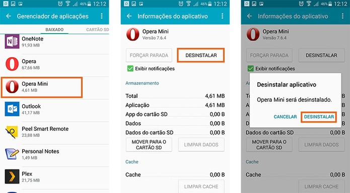 Desinstale o Opera Mini do celular Android e confirme a ação (Foto: Reprodução/Barbara Mannara)