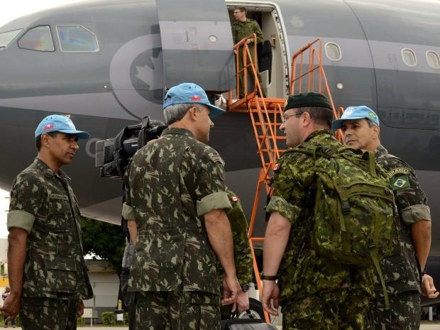 Pelotão canadense passará por preparação junto a militares brasileiros antes de embarcar para o Haiti (Foto: 18º Contingente Brasileiro (BRABAT 18))