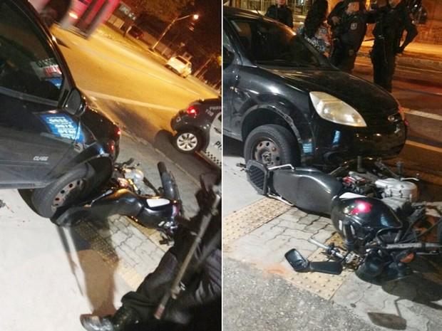 Após a colisão, professora continuou dirigindo e arrastou a moto por quase dois quilômetros (Foto: PM/Divulgação)