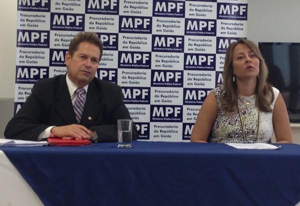 MPF e MP de Goiás - promotor Murilo Miranda e procuradora Mariane Guimarães  (Foto: Gabriela Lima/G1)