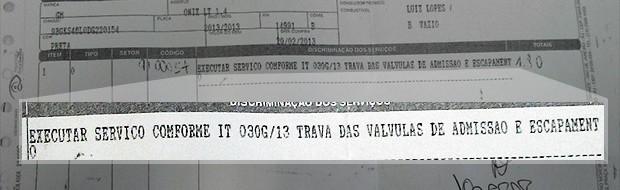 Ordem de serviço de Alfredo Mainenti revela troca de válvulas mesmo sem sintomas do defeito (Foto: Arquivo Pessoal)