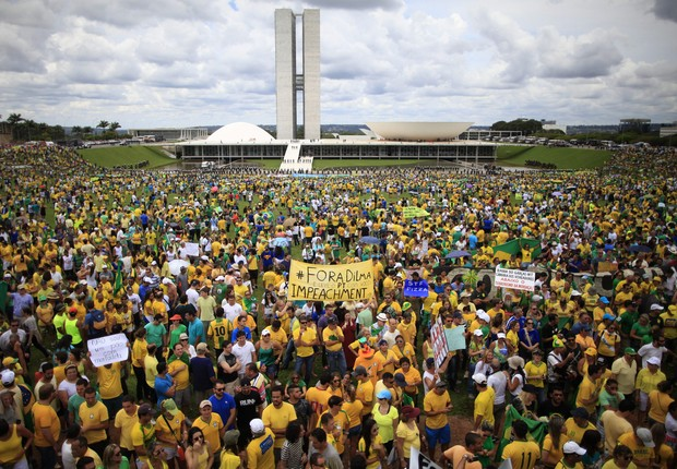 A manifestação em Brasília ocorreu de manhã (Foto: Fernando Bizerra Jr/EFE)