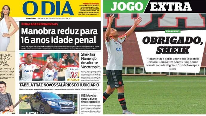 Capas jornal O Dia e Extra (Foto: Reprodução/Internet)