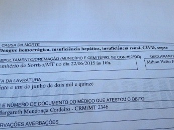 Laudo da morte diz que criança teve dengue hemorrágica (Foto: Arquivo pessoal)