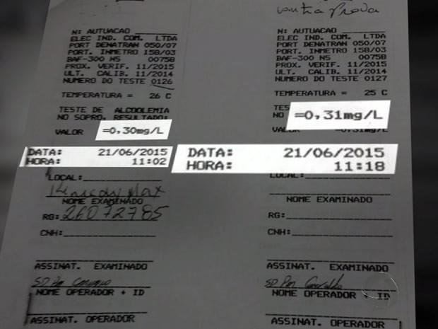 Teste de alcoolemia no motorista apontou índice de 0,30mg/L e contraprova indicou 0,31mg/L. (Foto: Reprodução/TVCA)