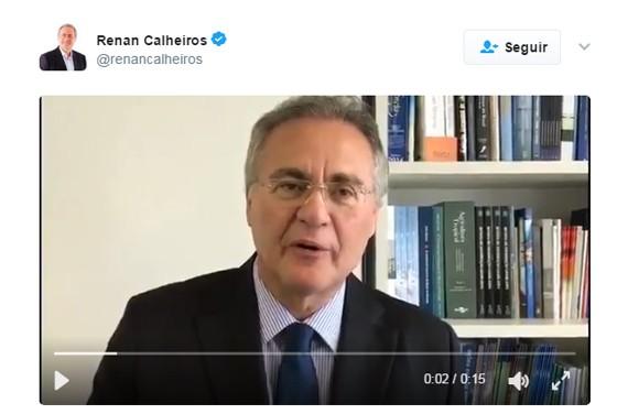 Vídeo de Renan Calheiros, no Twitter (Foto: Reprodução)
