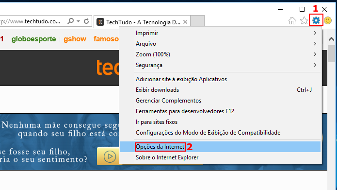 Acessando as opções do Internet Explorer (Foto: Reprodução/Edivaldo Brito)