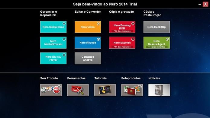 Assim que o Nero 2014 é iniciado você poderá escolher o acesso à um dos oito programas do suíte (Foto: Reprodução/Daniel Ribeiro)