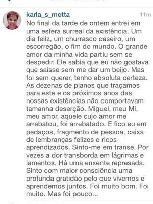 Karla Mota falou sobre a dor sentida pela morte repentina do marido, o procurador Miguel Josino (Foto: Reprodução/Instagram)