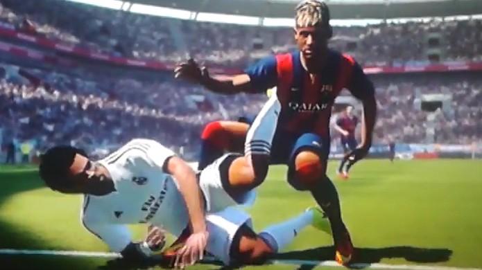 Neymar protagoniza um engraçado bug na versão demo de PES 2015 (Foto: Reprodução: YouTube) (Foto: Neymar protagoniza um engraçado bug na versão demo de PES 2015 (Foto: Reprodução: YouTube))