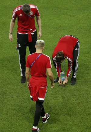 Gareth Bale puxa a grama do estádio de Lille (Foto: REUTERS/Carl Recine)