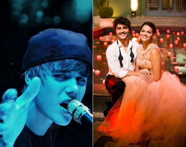 Justin Bieber: Never Say Never', um dos filmes do Cine Fã-Clube, e a nova novela das nove, Em Família  (Foto: Divulgação e Globo)