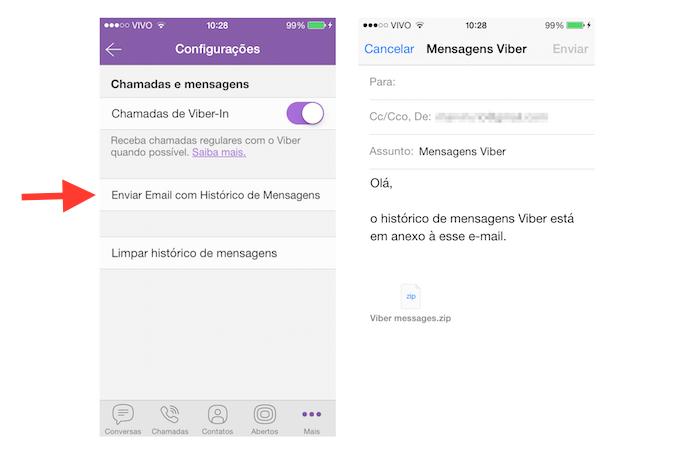 Enviando um backup das conversas do Viber por e-mail (Foto: Reprodução/Marvin Costa)
