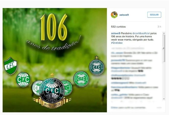 Zé Love homenageia Coritiba pelos 106 anos (Foto: Reprodução/Instagram)