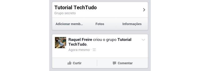 Tela confirmando a criação do grupo no Facebook (Foto: Reprodução/ Raquel Freire)