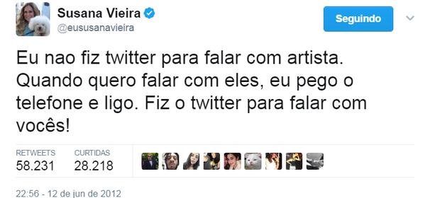 Susana Vieira no Twitter (Foto: Reprodução/Twitter)