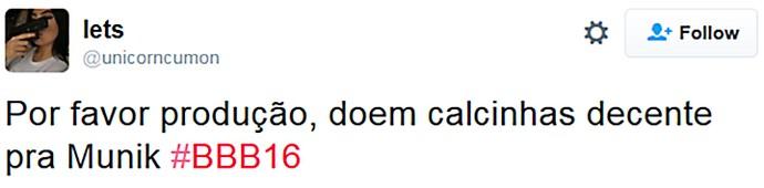 MUNIK CRITICA - CALCINHA - TWITTER 18_02 (Foto: TV Globo)