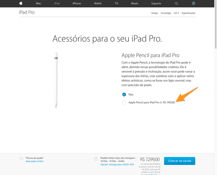 Apple Pencil é vendida separadamente do tablet com preço de R$ 749 (Foto: Reprodução/Thássius Veloso)