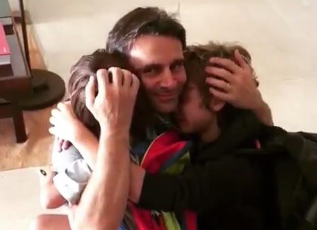 Murilo Rosa e os filhos, Artur e Lucas (Foto: Reprodução/Instagram)