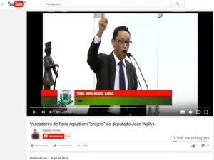 Vereador Edvaldo Lima deu início à discussão sobre projeto inexistente (Foto: Reprodução/YouTube)