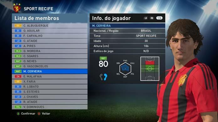 Diego Souza é um dos melhores do game, mas tem visual genérico (Foto: Reprodução/Murilo Molina)