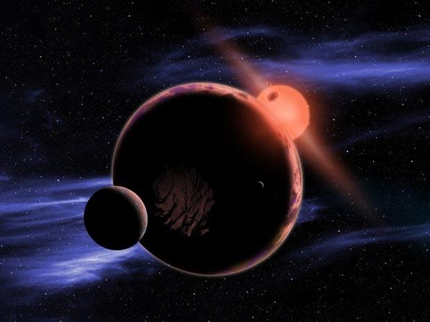 Concepção artística de um planeta na órbita de uma anã-vermelha (Foto: D. Aguilar/Harvard-Smithsonian Center for Astrophysics)