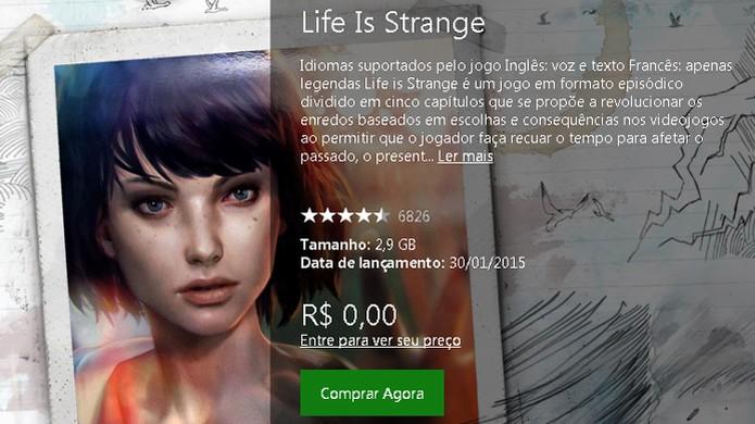Procure pela página de Life is Strange no Xbox One para baixá-lo (Foto: Reprodução/Rafael Monteiro) (Foto: Procure pela página de Life is Strange no Xbox One para baixá-lo (Foto: Reprodução/Rafael Monteiro))