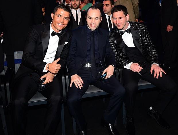 Cristiano Ronaldo, Iniesta e Messi prêmio Bola de Ouro (Foto: AFP)