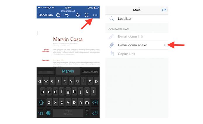 Enviando por e-mail o currículo feito no Word para iOS (Foto: Reprodução/Marvin Costa)
