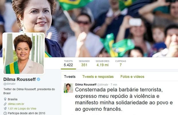 Post da presidente Dilma Rousseff no Twitter  (Foto: Reprodução/Twitter)