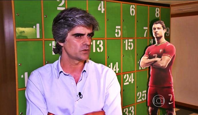 Luís Miguel Pereira, autor de livro sobre Cristiano Ronaldo (Foto: Reprodução TV Globo)