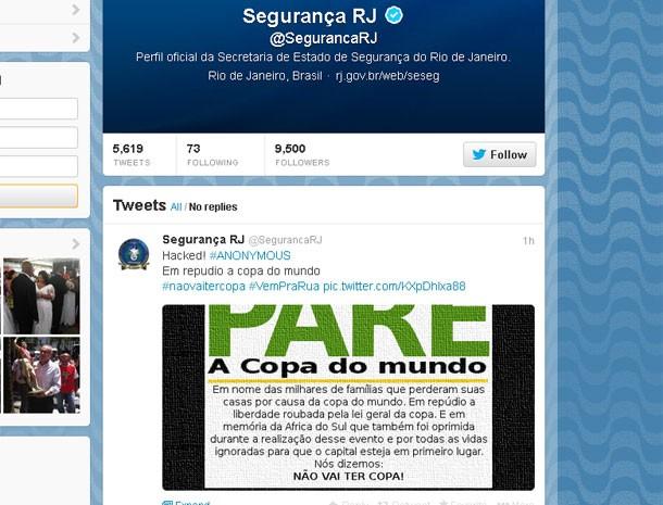 Perfil da Secretaria de Segurança também foi invadido (Foto: Reprodução / Twitter)