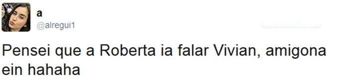 Roberta declara torcida para Rômulo e surpreende internautas (Foto: Reprodução da Internet / Twitter @alregui1)