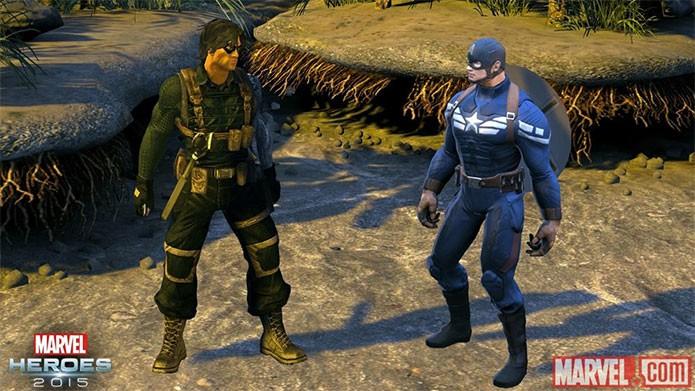 Soldado Invernal ao lado do Capitão América em Marvel Heroes (Foto: Divulgação)