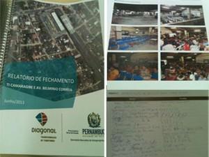 Montagem mostra relatório entregue à Secretaria Executiva de Desapropriação para obras do TI Camarabige e Avenida Belmino Correia, junto com fotos de audiências e ata de presença. (Foto: Divulgação/ PGE)