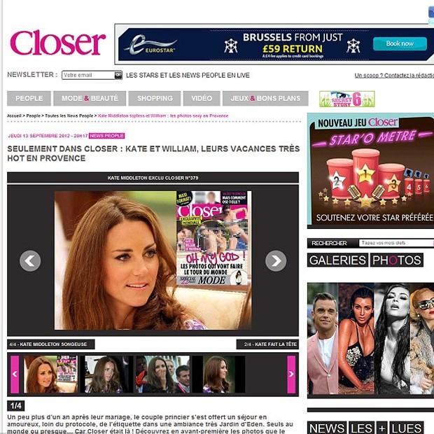 Página do site da revista Closer (Foto: Reprodução)
