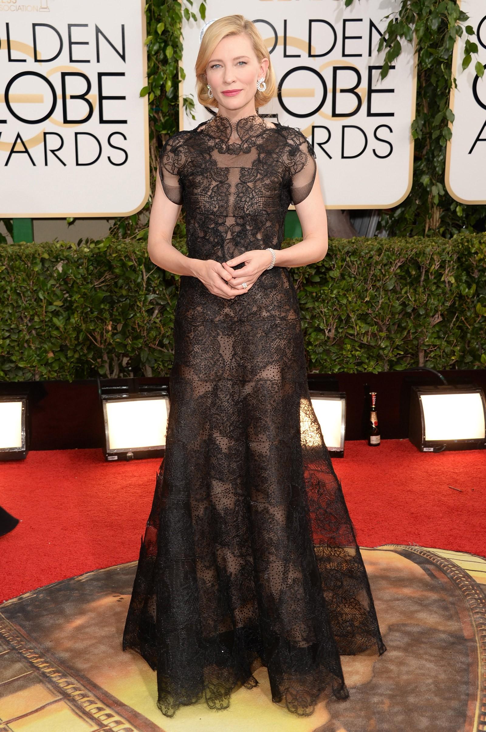 2013 - melhor atriz de drama para Cate Blanchett, que vestiu Giorgio Armani (Foto: Getty Images)