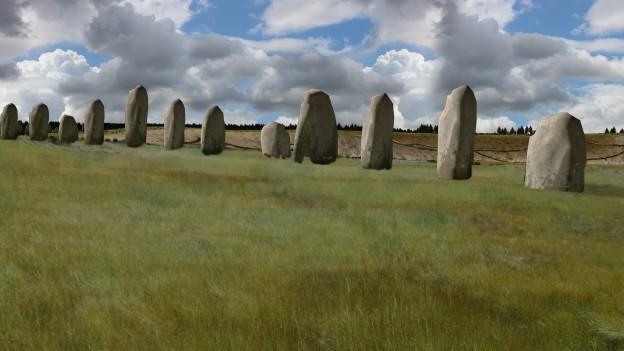 Simulação  do Ludwig Boltzmann Institute da localização das pedras encontradas (Foto: BBC)