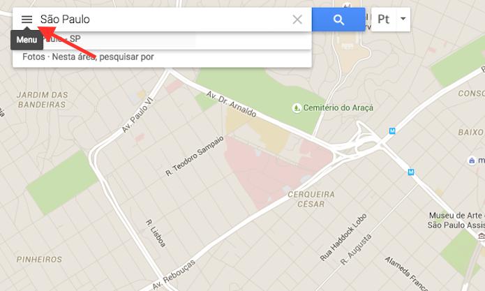 Acessando o menu do Google Maps para ativar a visualização de ciclovias, trilhas e estradas para ciclistas (Foto: Reprodução/Marvin Costa)