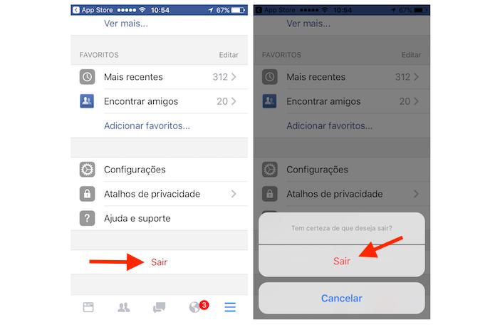 Deslogando a segunda conta do Facebook no iPhone (Foto: Reprodução/Marvin Costa)
