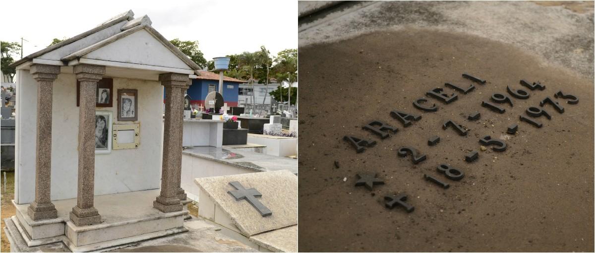Cemitério Serra-Sede, onde o corpo está enterrado (Foto: Montagem/ G1)