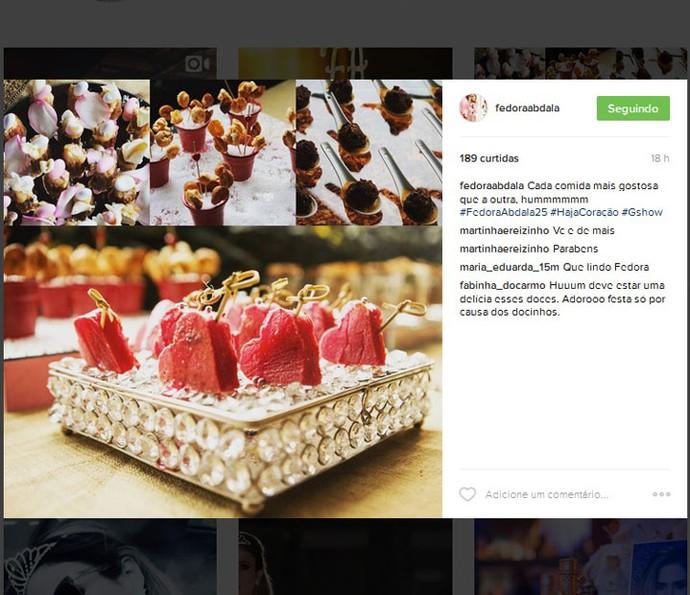 Gente como a gente: tem foto de comida também no perfil da Fedora! (Foto: Reprodução)