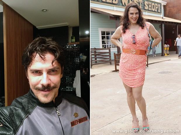 Bonitão, o ator conta que em casa se veste de mulher para encarnar personagem (Foto: Sangue Bom/TV Globo)