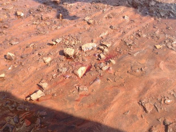 Local onde adolescente caiu após ser esfaqueado (Foto: Mirian Machado/ G1 MS)