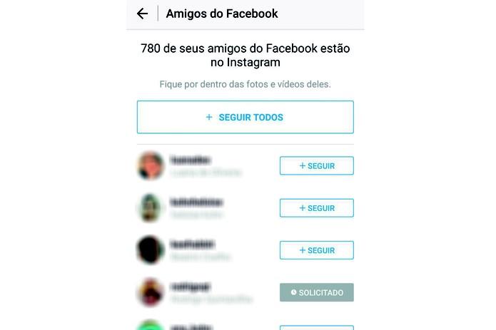 99b67de373a Selecione os amigos que deseja seguir no Instagram ou siga todos de uma vez  (Reprodução