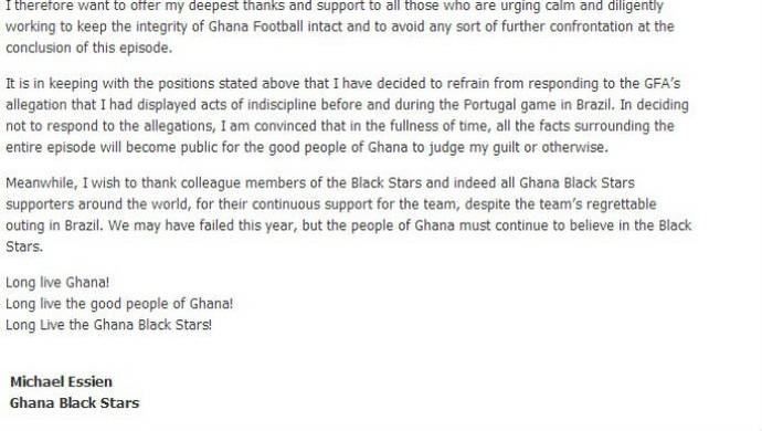 Essien publica carta pelo Twitter (Foto: Reprodução)